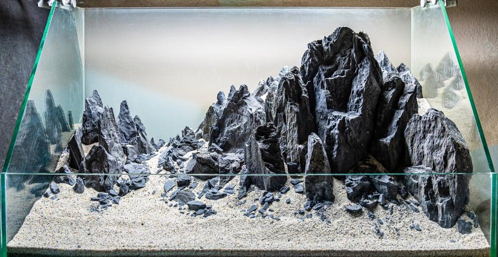 rock hardscape layuot arrangement for aquarium tank